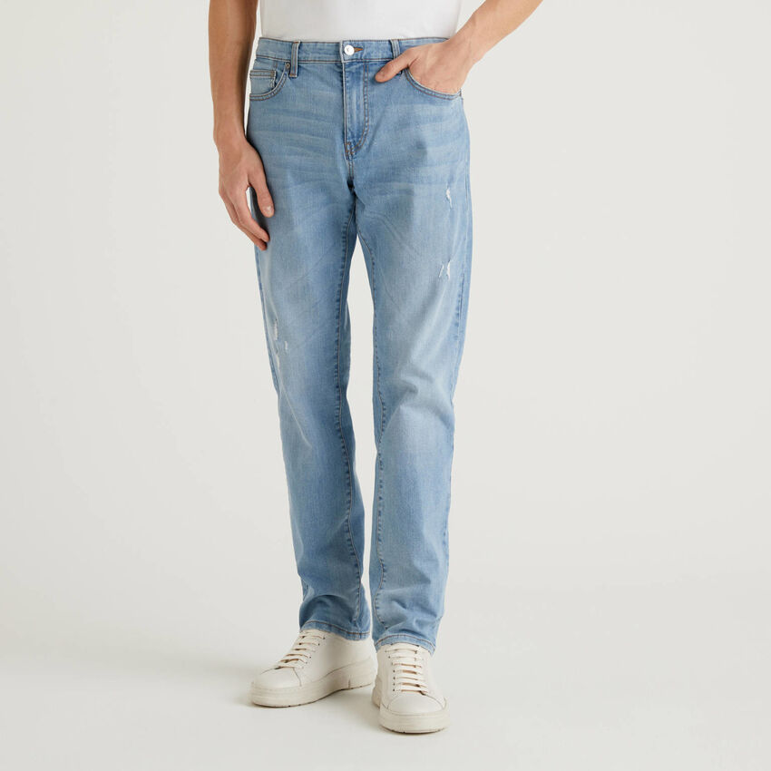 Straight leg jeans in stretch cotton