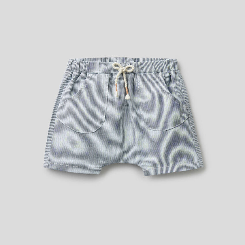 Striped shorts in pure cotton