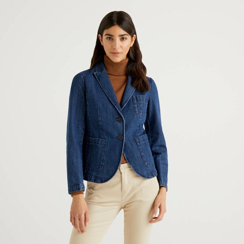 Flared blazer in cotton denim
