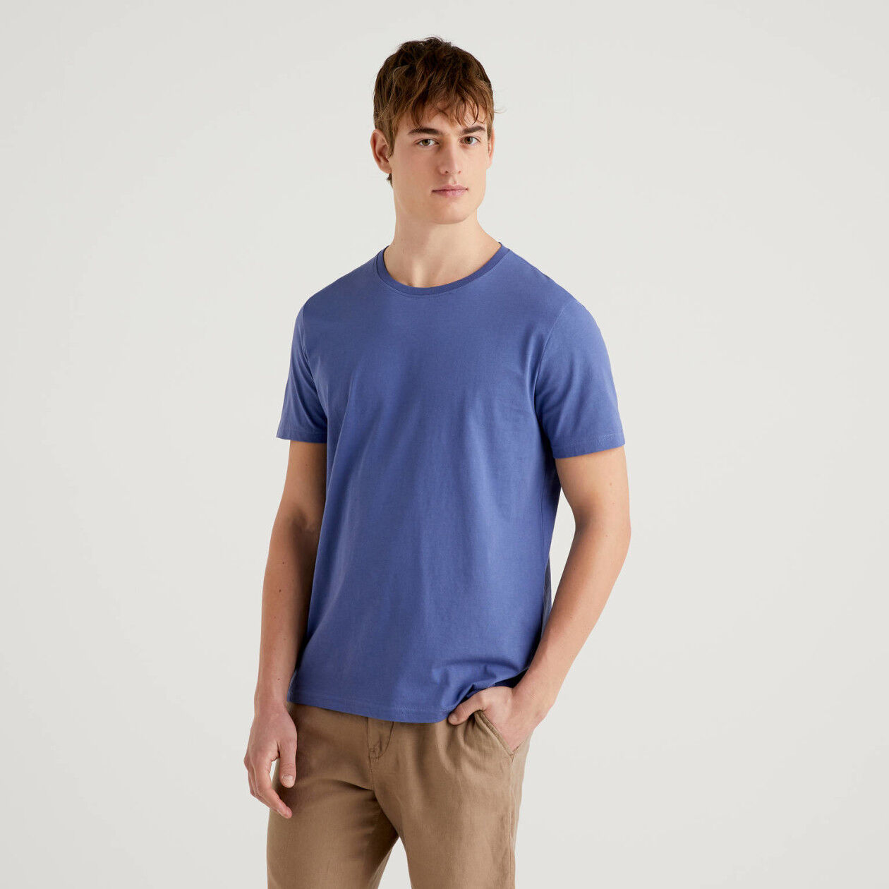 Air force blue t-shirt in pure cotton