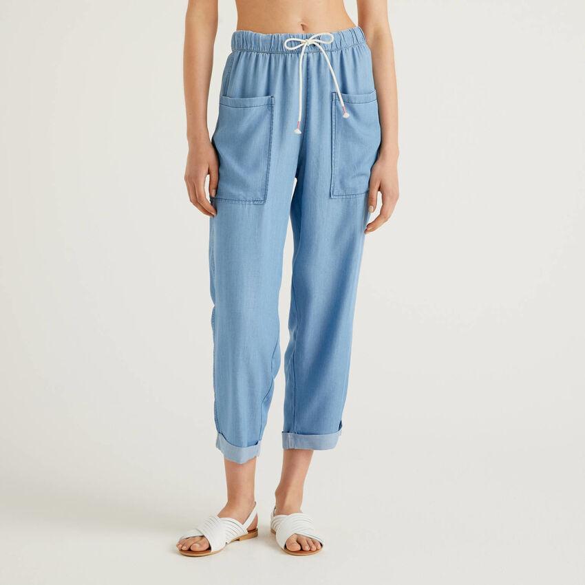 Flowy denim look trousers