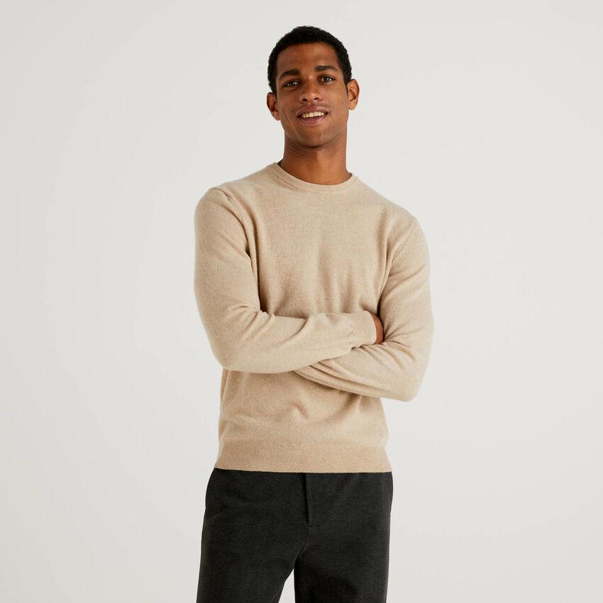 Beige crew neck sweater in pure virgin wool