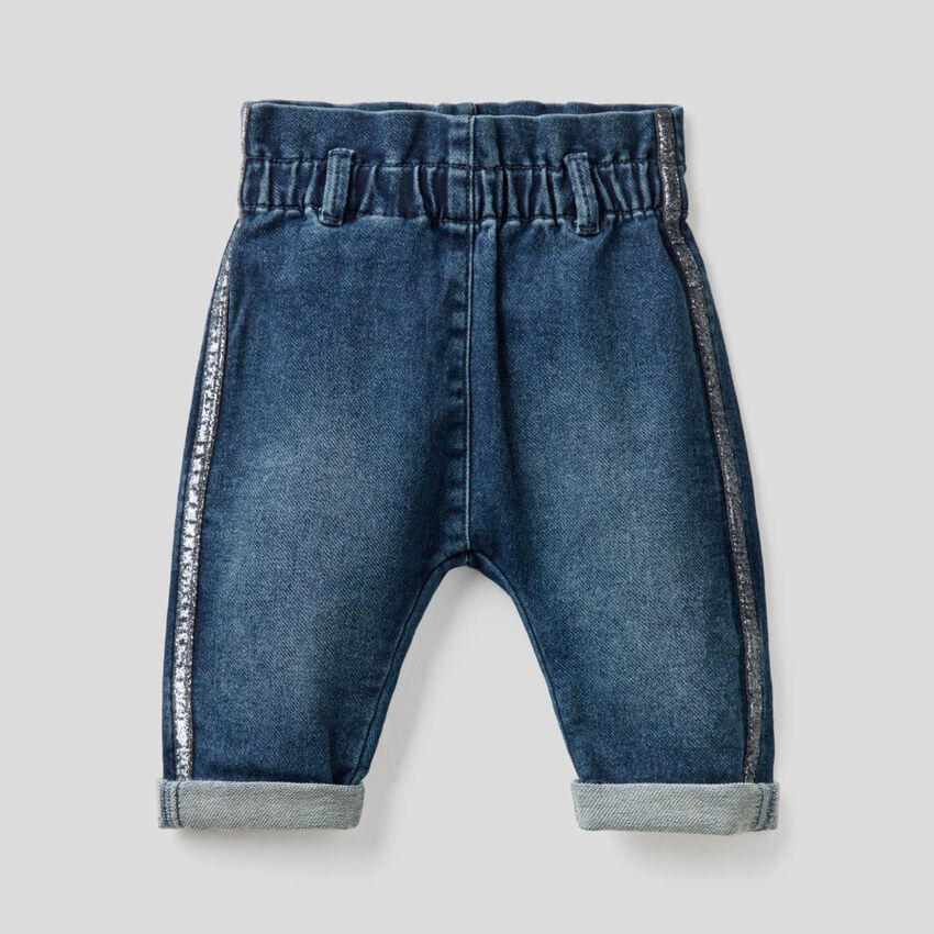 Paperbag jeans with lurex band