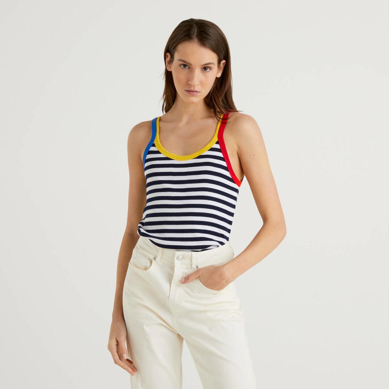 Blue striped tank top with clashing hem